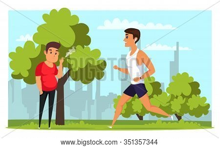 Sportsman And Smoker Flat Vector Illustration. Obese And Slim People Cartoon Characters. Healthy And