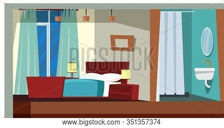 Bedroom Interior Decor Flat Vector Illustration. Modern Apartment Room With No People. Luxury Hotel