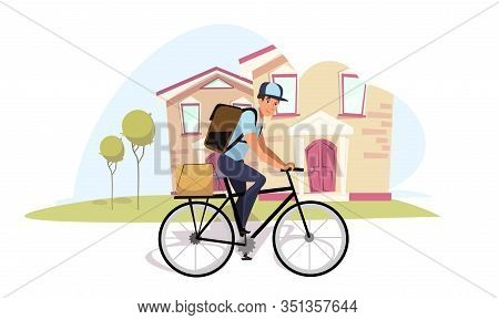 Postman On Bicycle Flat Vector Illustration. Cartoon Mailman, Messenger On Bike Wearing Rucksack Iso