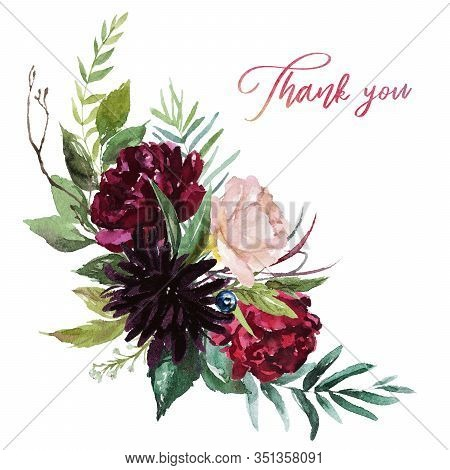 Watercolor Floral Illustration - Flowers Burgundy Bouquet For Wedding Stationary, Greetings, Wallpap