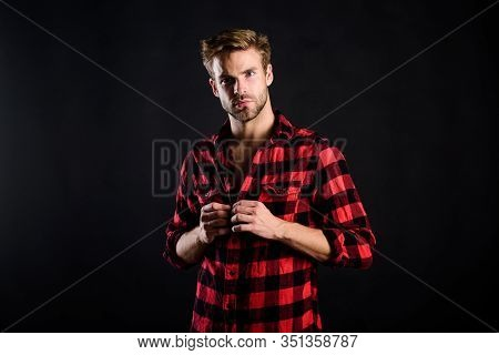 Hipster Black Background. Meaning Of Modern Manliness. Handsome Well Groomed Man. Exhibit Masculine