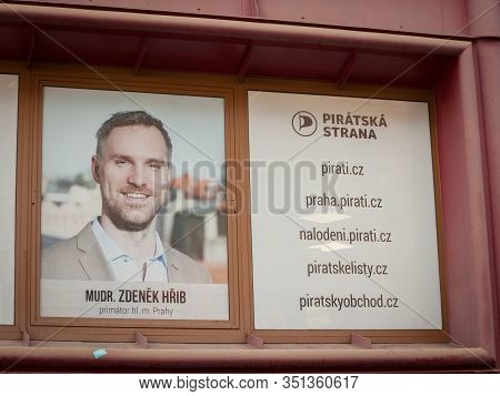 Prague - Czechia - October 31, 2019: Poster Of The Czech Pirate Party (piratska Stranka) With A Pict