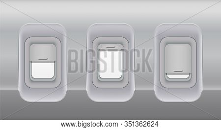 Airplane Fuselage Windows. Aircraft Indoor Portholes Template, Vector Open And Closed Fuselage Plane