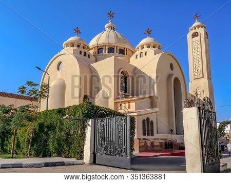 Egypt, Sharm El Sheikh - January 18, 2020: New Modern El Sama-eyeen Coptic Orthodox Church, Outside