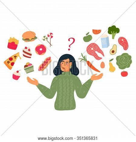 Woman Chooses Between Fast Food And Healthy Live Food. Diet Concept. Flat Vector Illustration.