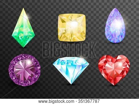 Precious Stones And Gems, Jewelry. Rhinestone And Brilliant, Sapphire And Amethyst, Aquamarine And T