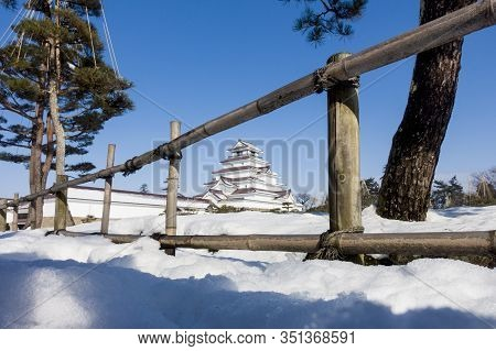 Tsuruga-jo Castle During Winter With Snow Covered When Day Time In Fukushima, Japan.