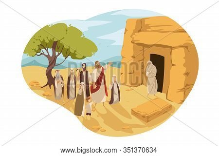 Revival Of Lazarus By Christ, Bible Concept. Jesus Christ Son Of God Makes Lazarus Alive, Taking Him