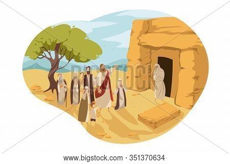 Revival Of Lazarus By Christ, Bible Concept. Jesus Christ Son Of God Makes Lazarus Alive, Taking Him