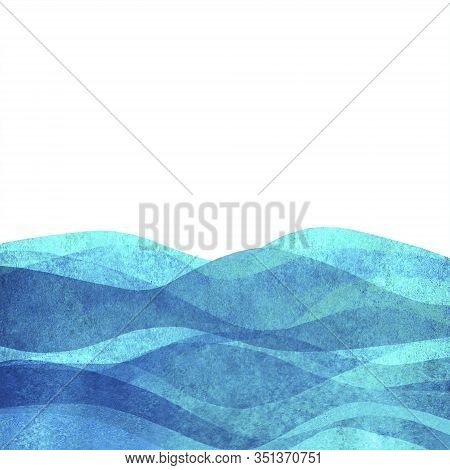 Watercolor Transparent Wave Grunge Sea Ocean Teal Turquoise Background. Watercolour Hand Painted Wav