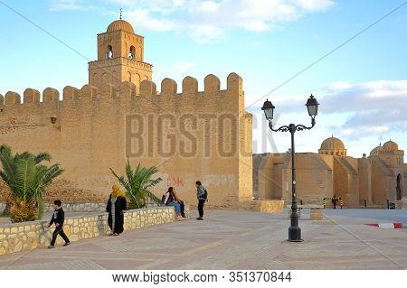 Kairouan, Tunisia - December 09, 2019: The Great Mosque Of Kairouan Viewed From Outside The Ramparts