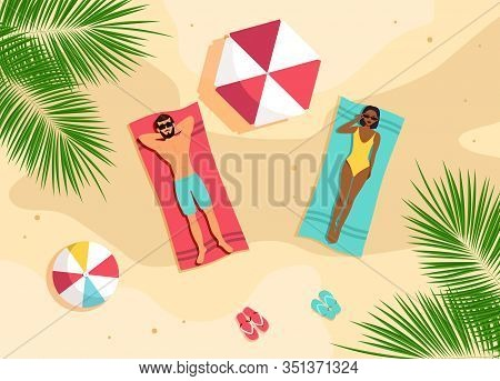 Couple sunbathing top view. A man and an African American woman are sunbathing on a beach. Beach time vector illustration. Hello Summer, summer time, summer day, summer day background, summer banners, summer flyer, summer design, summer with people in the