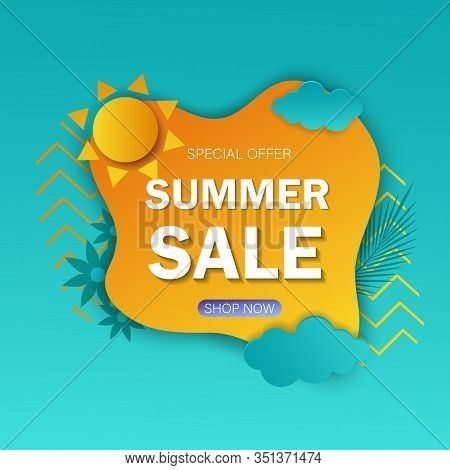 Hello summer vector illustration. Summer sale web banner template. Hello Summer, summer time, summer day, summer day background, summer banners, summer flyer, summer design, summer with people in the pool, vector illustration. Eps10 vector illustration. C