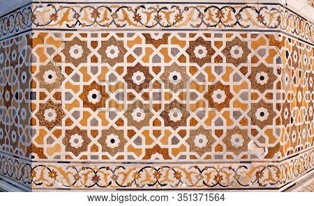 Detail Of Marble Surface With Stone Inlay At Itimad-ud-daulah Tomb In Agra, Uttar Pradesh, India