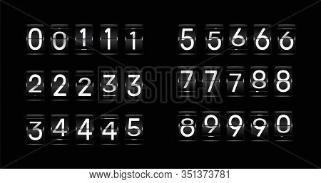 Flip Clock Numbers. Retro Countdown Animation, Mechanical Scoreboard Number And Numeric Counter Flip