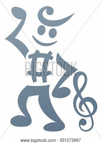 A Mascot Character Made Of Musical Notes And Music Notation