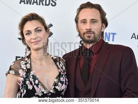 LOS ANGELES - JAN 06:  Laure de Clermont-Tonnerre and Matthias Schoenaerts arrives for the Film Independent Spirit Awards 2020 on February 08, 2020 in Santa Monica, CA