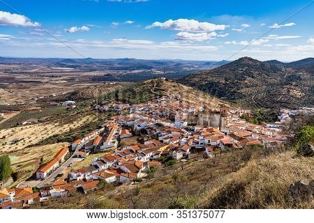 Little Village Of Feria With Church Of San Bartolome. Extremadura. Spain.