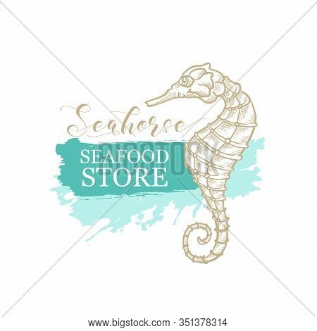 Seahorse Vector Thin Line Art Design For Seafood Store And Fish Market Logo. Seahorse In Golden Penc