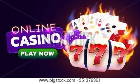Burning Slot Machine, Dices, Poker Cards Wins Wins The Jackpot. Fire Casino Concept. Hot 777.