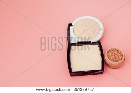 Tonal Foundation And Highlighter, Base For Make-up In The Form Of A Cushion. Highlighter Powder Cosm