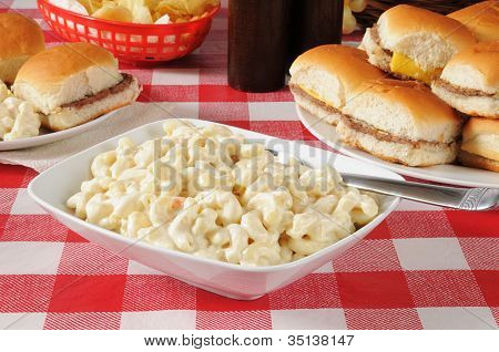 Macaroni Salad With Mini Cheeseburgers