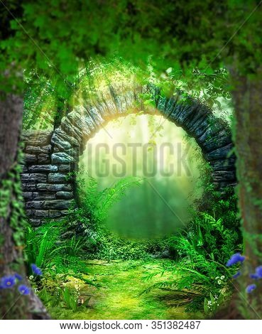 Enchanting Stone Gate Entrance To A Lush Fairytale Forest, 3d Render.