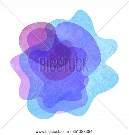 Watercolor Abstract Modern Flat Geometric Transparent Liquid Shape Forms. Watercolour Hand Painted T