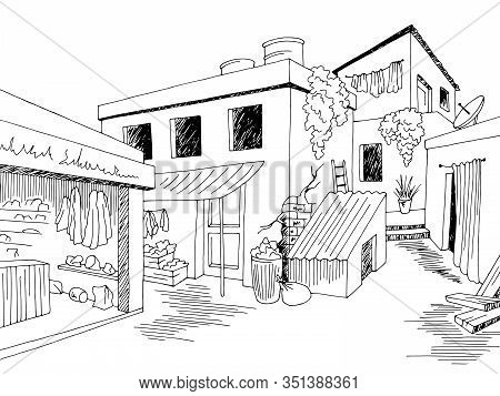 Slum Old Street Graphic Black White Town Landscape Sketch Illustration Vector