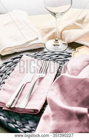 Holiday Table Setting With Pink Napkin And Silver Cutlery, Food Styling Props, Vintage Set For Weddi