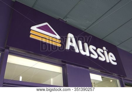 Brisbane, Queensland, Australia - 29th January 2020 : Aussie Sign Hanging In Front Of A Store In Wes
