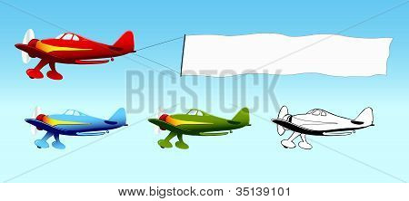 Plane with blank sky banner, aerial advertising