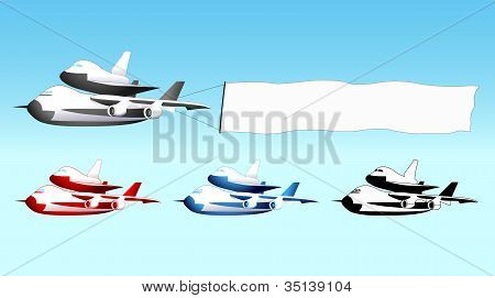 Shuttle carrier aircraft with blank banner