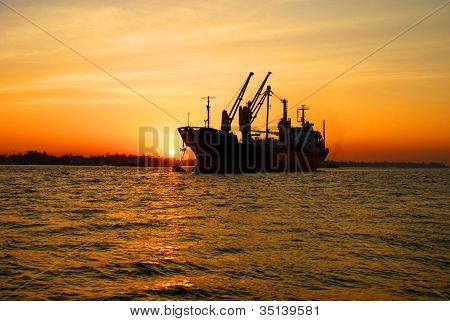 ship and sunset