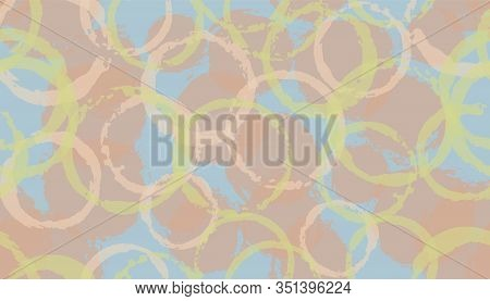 Distressed Watercolor Circle Stamps Textile Print. Round Shape Splotch Overlapping Elements Vector S
