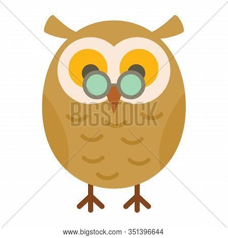 Academic Owl Flat Icon. Vector Academic Owl In Flat Style Isolated On White Background. Element For