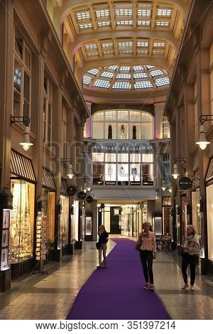 Leipzig, Germany - May 9, 2018: People Visit Madler Passage Old Shopping Arcade In Leipzig. The Arca