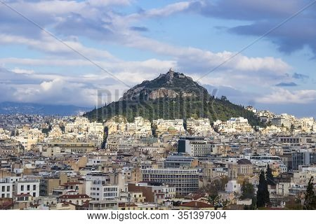 Mount Lycabettus In Athens, Greece. Picturesque Skyline View From Areopagus Rock