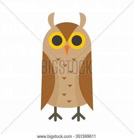 Scholar Owl Flat Icon. Vector Scholar Owl In Flat Style Isolated On White Background. Element For We