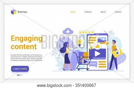 Engaging Content Website Flat Design Landing Page. User Friendly Interface App, Clients Engagement,