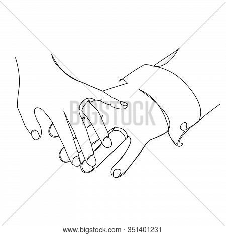 One Continuous Single Drawing Line Art Flat Doodle Love, Groom, Bride, Beautiful, Couple. Isolated I