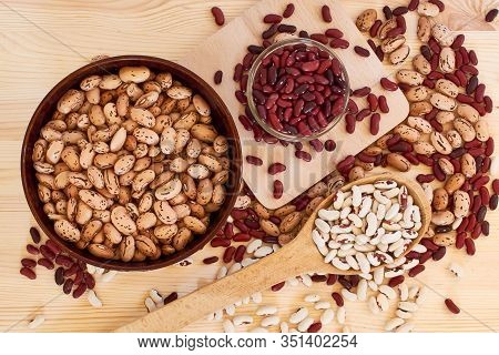 Haricot Grains Of Different Varieties: White, Red, Brown, Spotted, Large And Small. Vegetarian Food