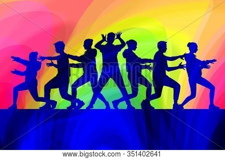 Silhouettes Of Teenagers Dance Modern Dance In Different Poses And Emotions On A Bright Multicolored