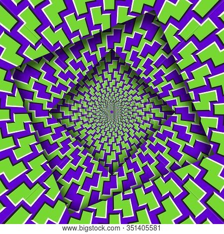 Abstract Turned Frames With A Rotating Purple Green Trippy Pattern. Optical Illusion Hypnotic Backgr