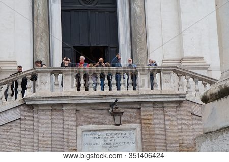 Rome, Italy - October 15, 2019:  People Attends The Trinita Dei Monti Cathedral
