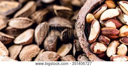 Brazil Nuts Inside The Coconut. In Portuguese Castanha Do Pará, Closed And Open, On The Market For S