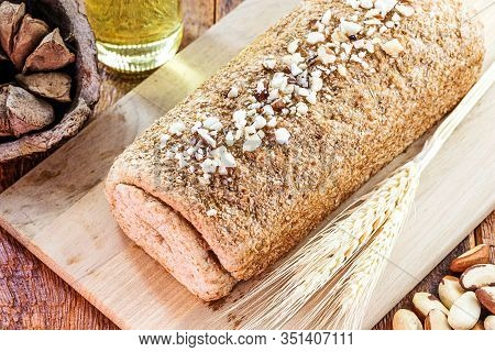 Brazil Nut Bread, Bread Made With Brazil Nuts, Known In Portuguese As Castanha Do Pará. Homemade Veg