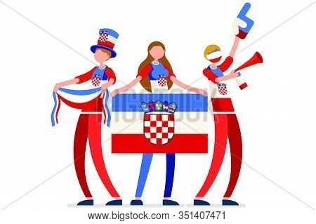 Crowd Of Persons Celebrate National Day Of Croatia With A Flag. Croatian People Celebrating A Footba