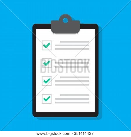 Clipboard Or Checklist Icon In Flat Style. Done, Tick, Checkmark, Approved Signs. Task List, Audit R