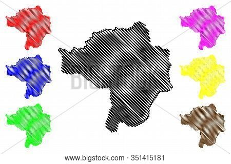 Butha-buthe District (districts Of Lesotho, Kingdom Of Lesotho) Map Vector Illustration, Scribble Sk